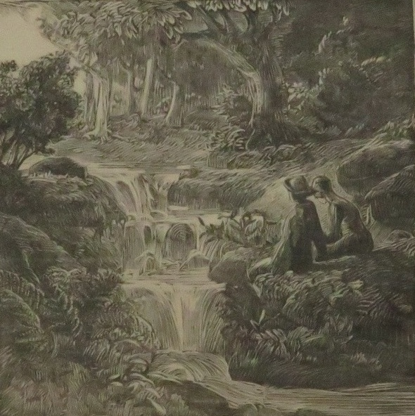 Lot 27 - George Edward Marston (1882-1940) - two figures beside waterfall, woodcut, signed in pencil and