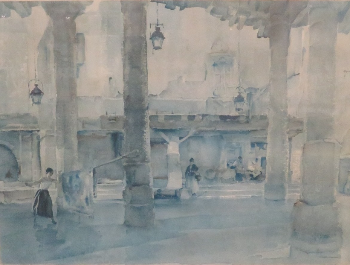 Lot 21 - After William Russell Flint (1880-1969) - women cleaning in a courtyard, reproduction colour