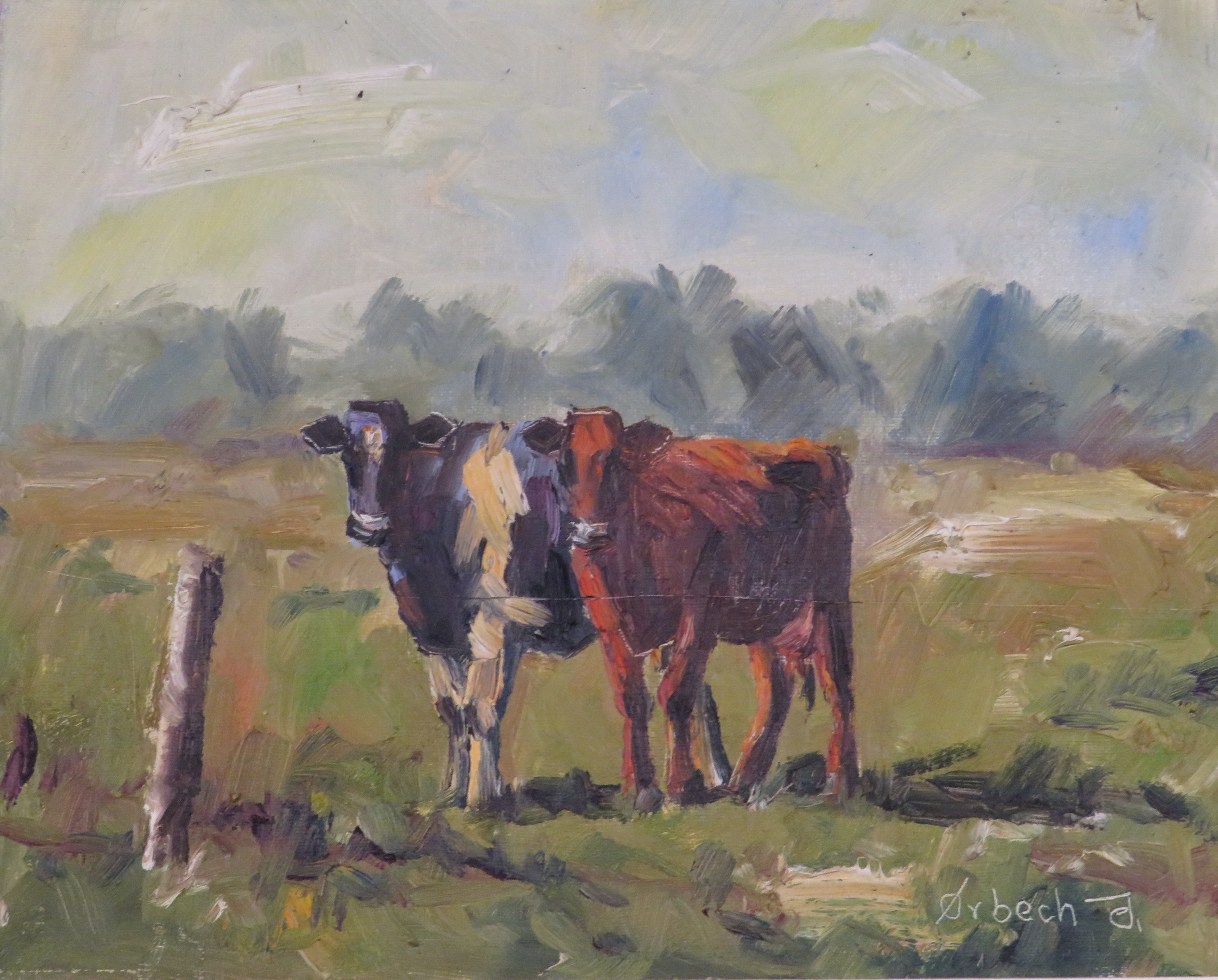 Lot 32 - Two cows in landscape, oil on canvas, signed Orbech J (?) lower right, (23.5cm x 29cm), in a gilt