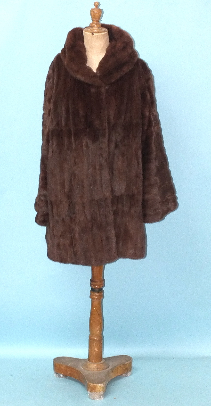 Lot 231 - A dyed coney coat with shawl collar and a Taube Collection, London, three-quarter length fur