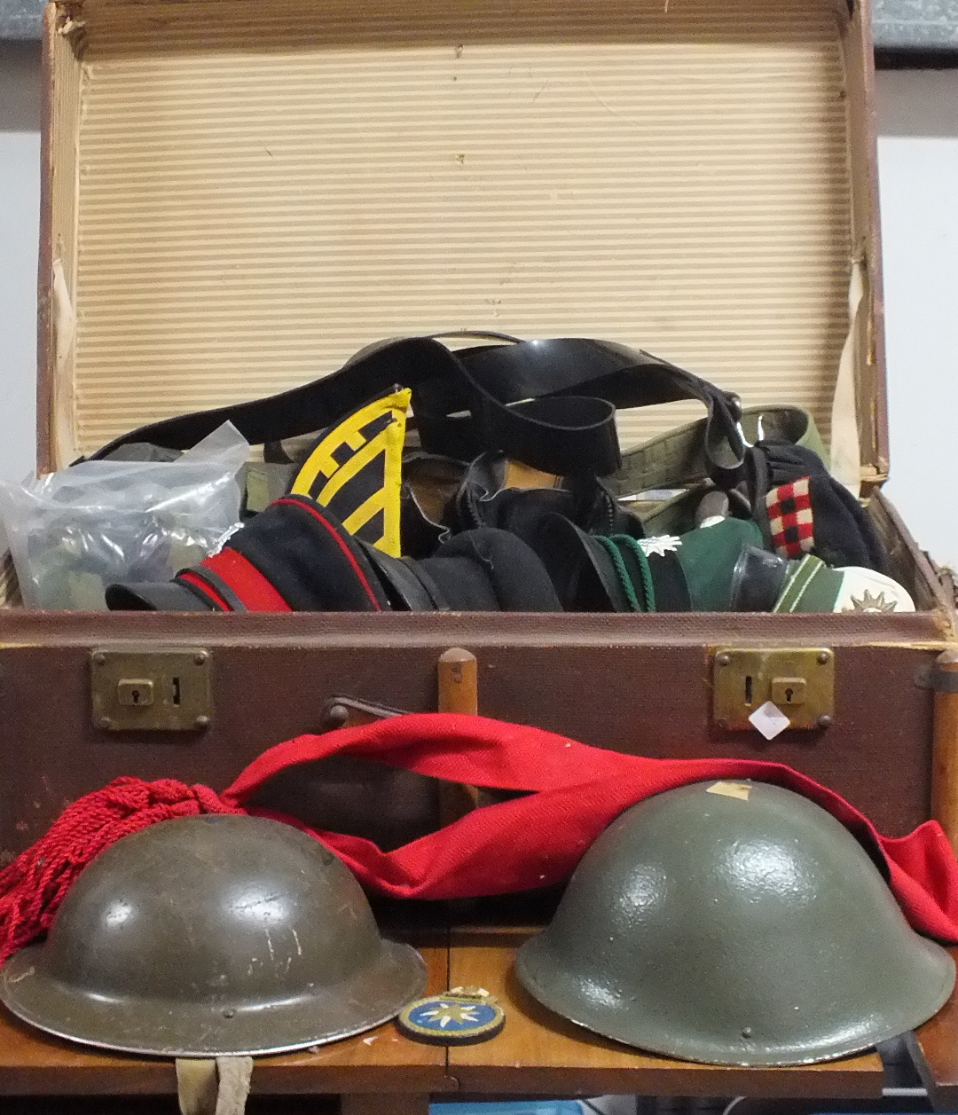 Lot 263 - A quantity of mainly British Army items including a 1939 helmet, two pairs of boots, two gas