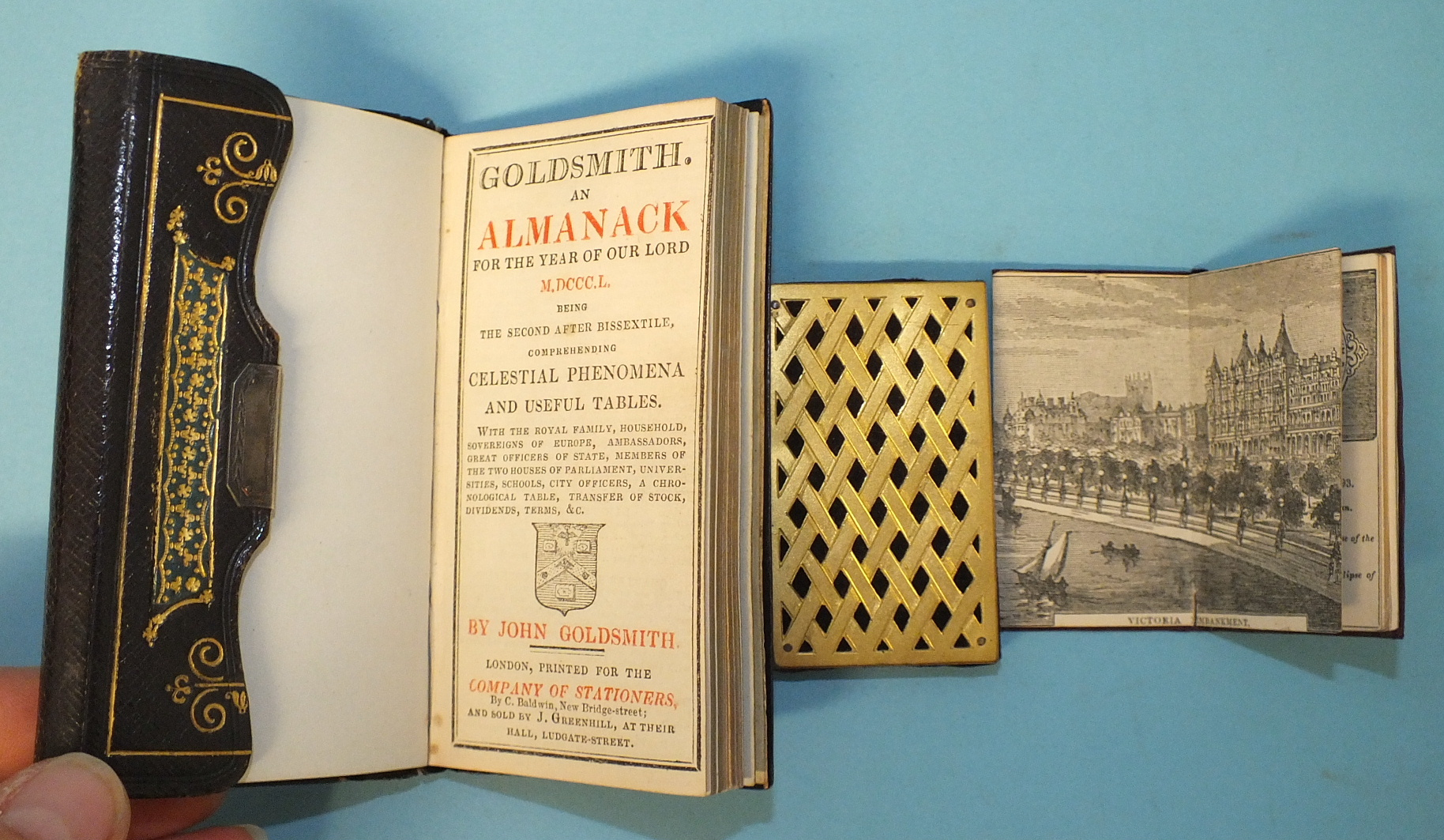 Lot 54 - Goldsmith (John), An Almanac for the Year of our Lord 1850, front pocket, pencil pocket, black mor