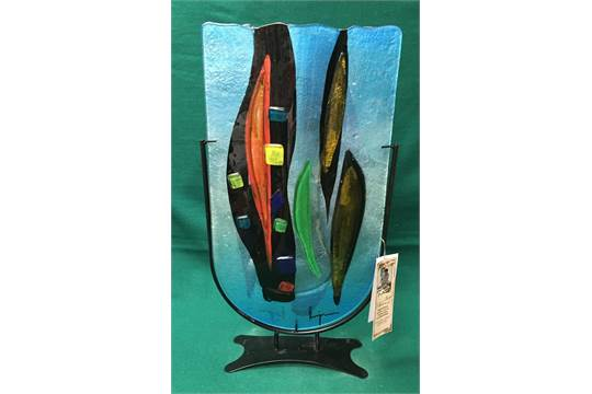 Signed Benjamin Chang Glass Vase On Stand H50cm W28cm Approx