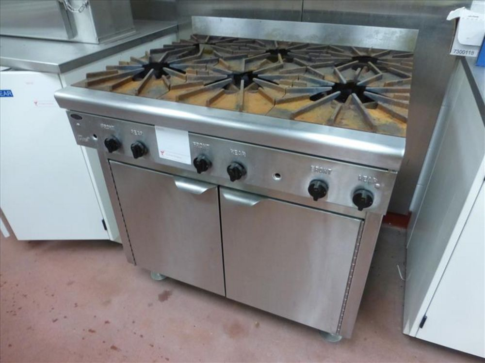 Lot 814 - Lab appliances mod. no. Quest (1) 6 burners, gas fed, stainless stove with exhaust hood, (1) True