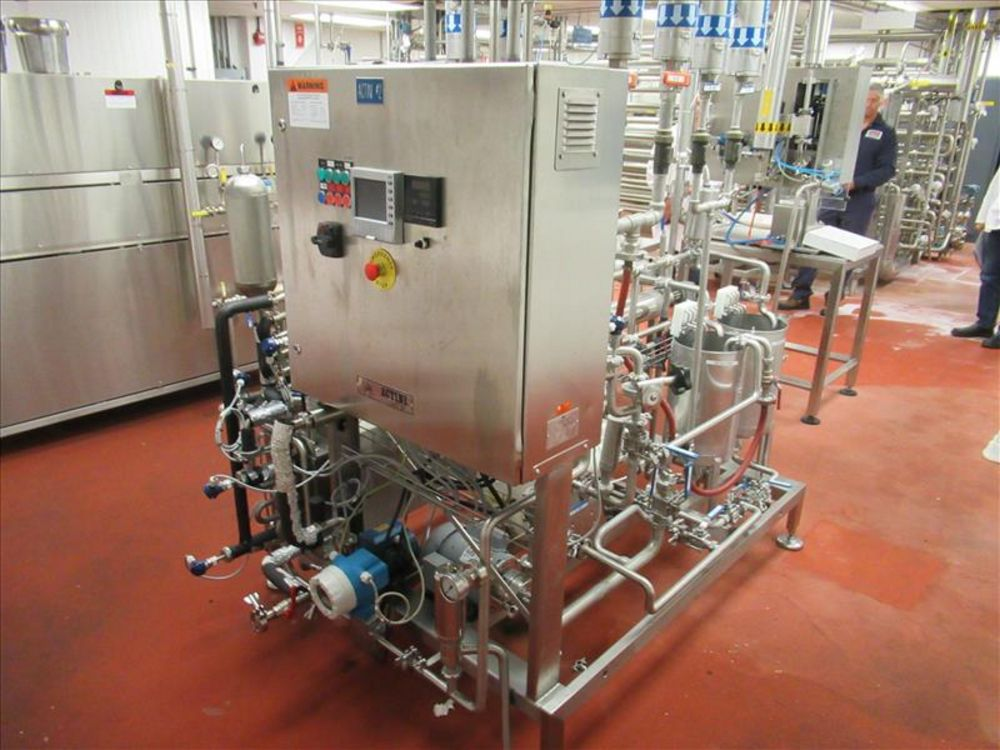 Lot 821 - 50L Actini #2 test production skid mod. no. N - 2690 soup sterilizer skid, 2. 5 / 13gallons per