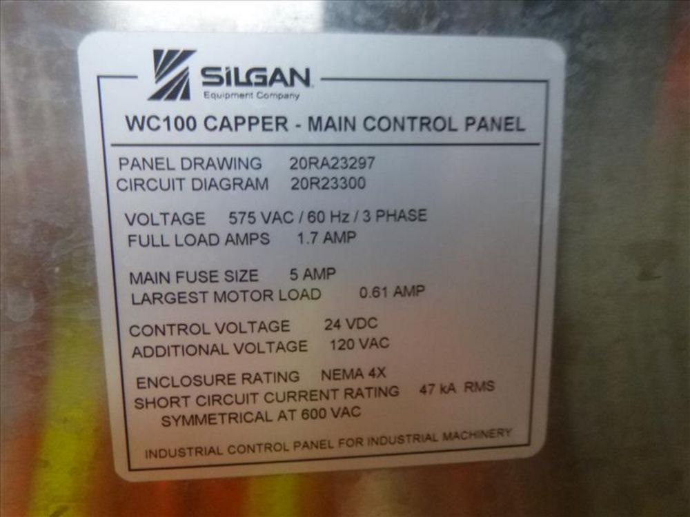 Lot 825H - Silgan capper, mod. SWC100 (2013) c/w control panel (2nd Floor, Test Kitchen)