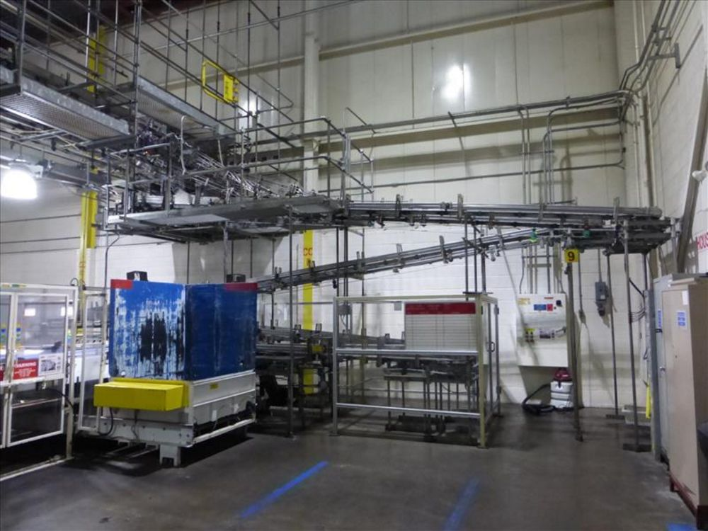 Lot 1064 - alpine can accumulation conveyors 5 sets, 4 pass each, approx dimension with turn @ 55 ft. L x 6 ft.