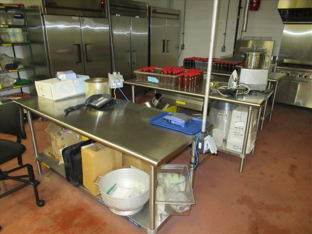 Lot 815 - (5) Stainless tables with fixtures & utensils [Upstairs ACC Pilot]