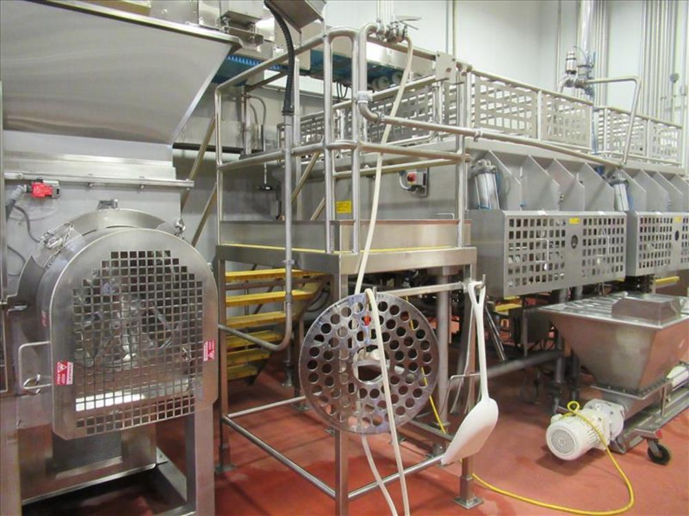 Lot 841 - Extructor inspection platform approx 36 in. W x 6 ft. h, stainless frame and safety rails with 6