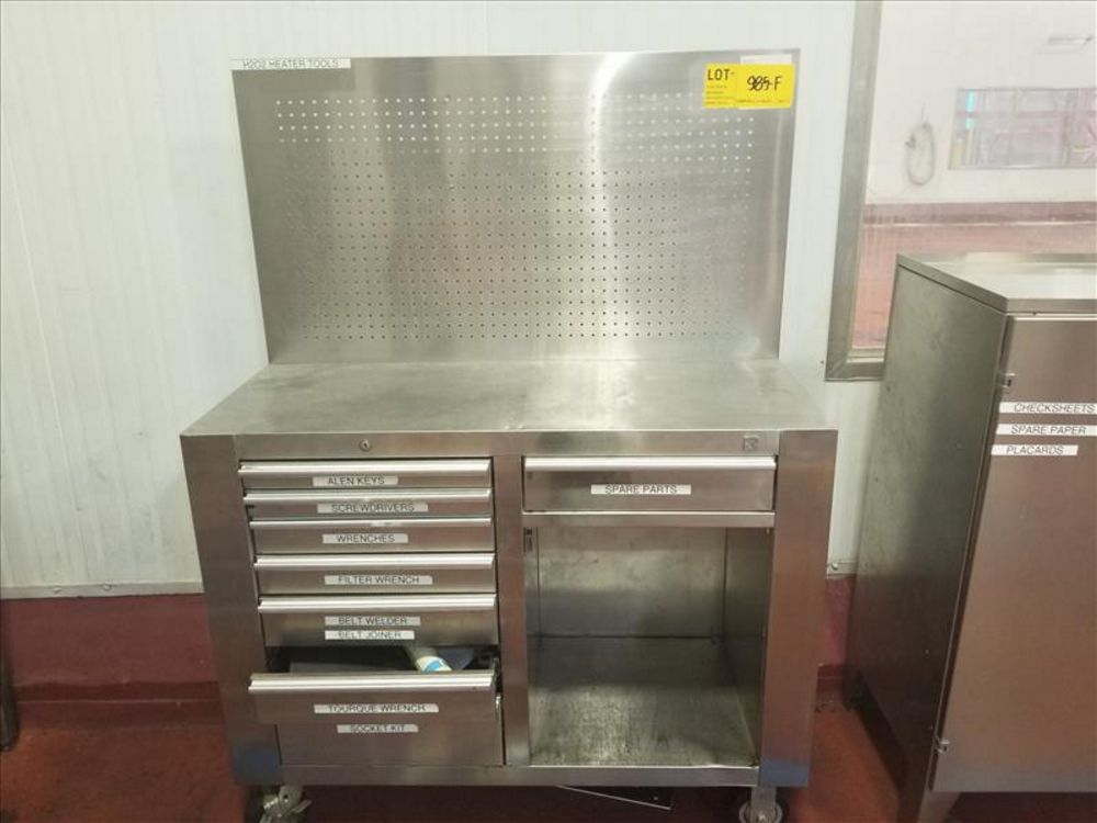 Lot 985F - Stainless table and tool chest with work vise and 8 drawers mobile tool chest and (1) mobile
