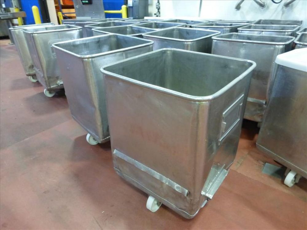 Lot 902 - (10) Stainless totes approx 400lbs capacity dump buggy, 25 in. x 25 in. x 30 in. h [Cooking and