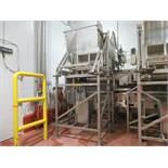 MTC 3000 lb bin dumper #1 mod. no. LEC ser. no. 4963 hydraulic low lift tote dumper, single stage,