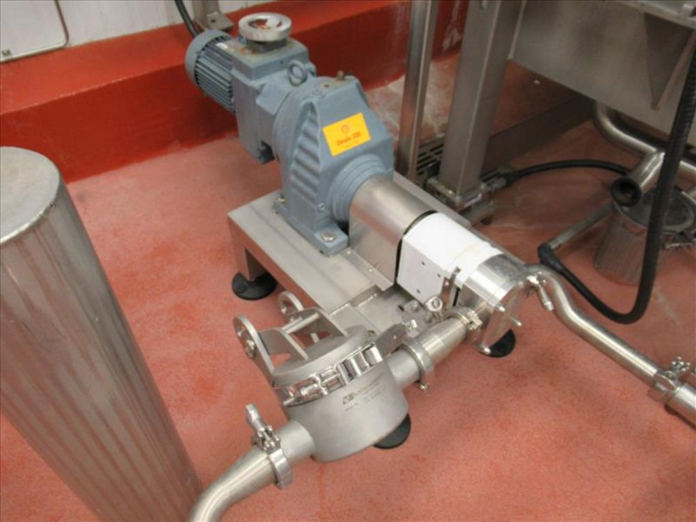 Lot 805 - Uniblock sanitary positive lobe pump 2 in. x 2 in., Sew Eurodrive 3/4hp/ 1700rpm, on skid [