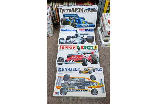 FOUR TAMIYA 1:12 SCALE UNMADE FORMULA ONE CARS PLASTIC MODEL