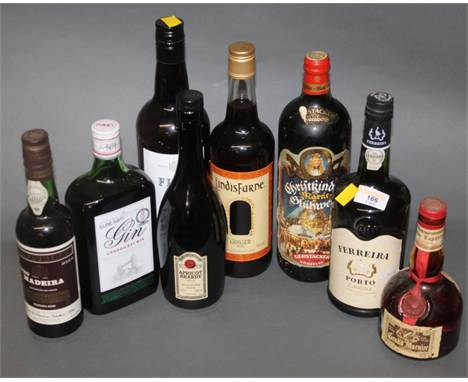An approx 70cl bottle of Ferreira Port Lagrima, a 37.5cl bottle of D'Oliveirias Maderia and six other bottles of mixed alcoho