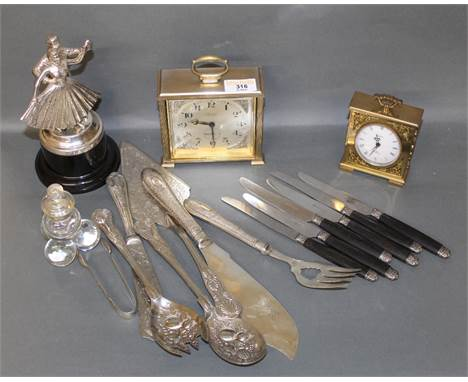 A plated metal dancing trophy, of figural form, 19 cm, sold together with a small selection of mixed flatware to include sala