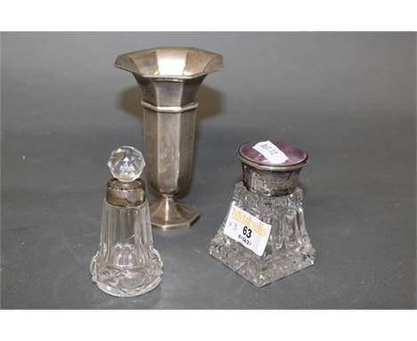 A George V pink enamelled silver topped and cut glass scent bottle, 8 cm high, the top hallmarked for Birmingham 1913, one ot