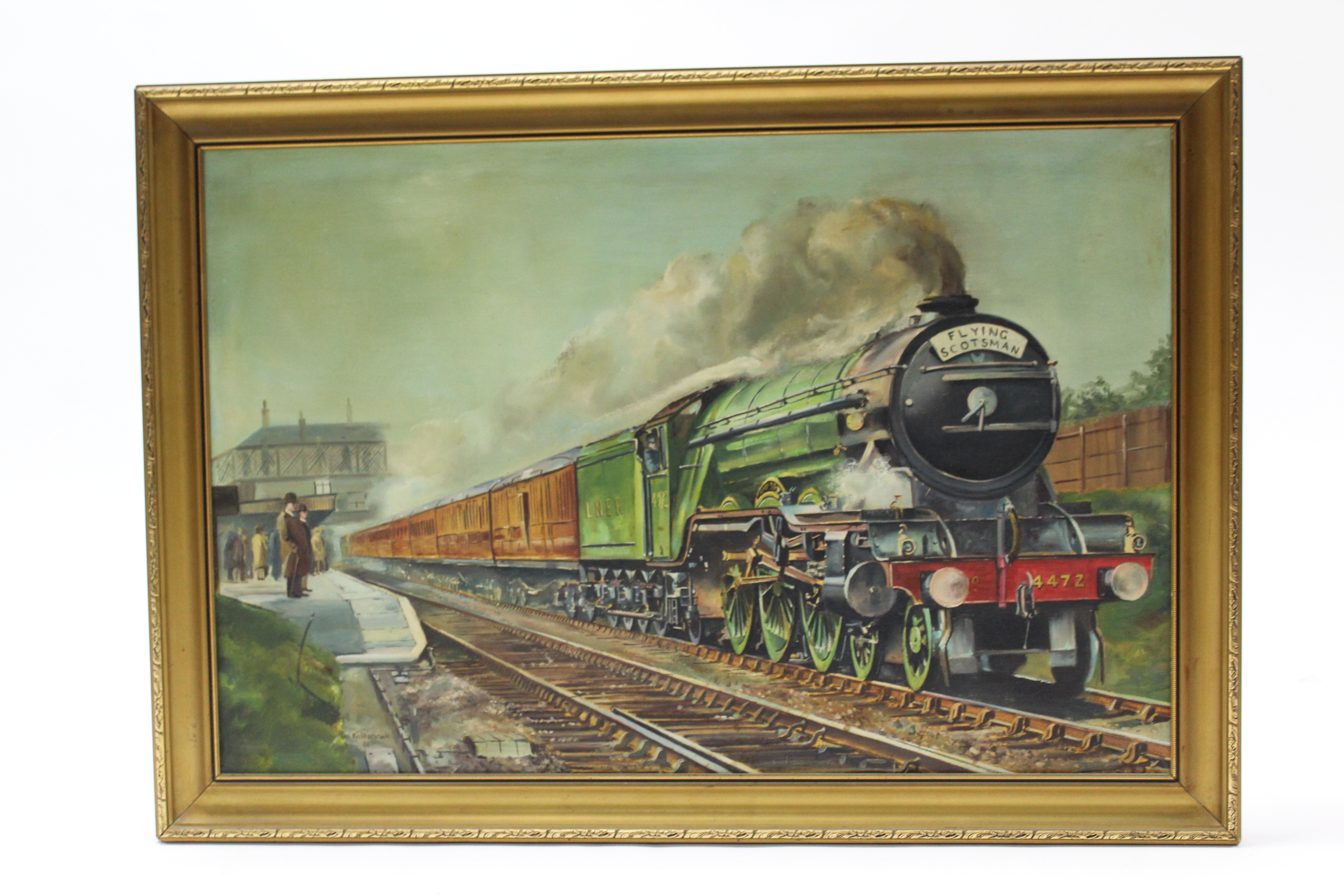 Lot 88 - Another large oil painting on canvas by Ken Allsebrook, of a railway locomotive titled to