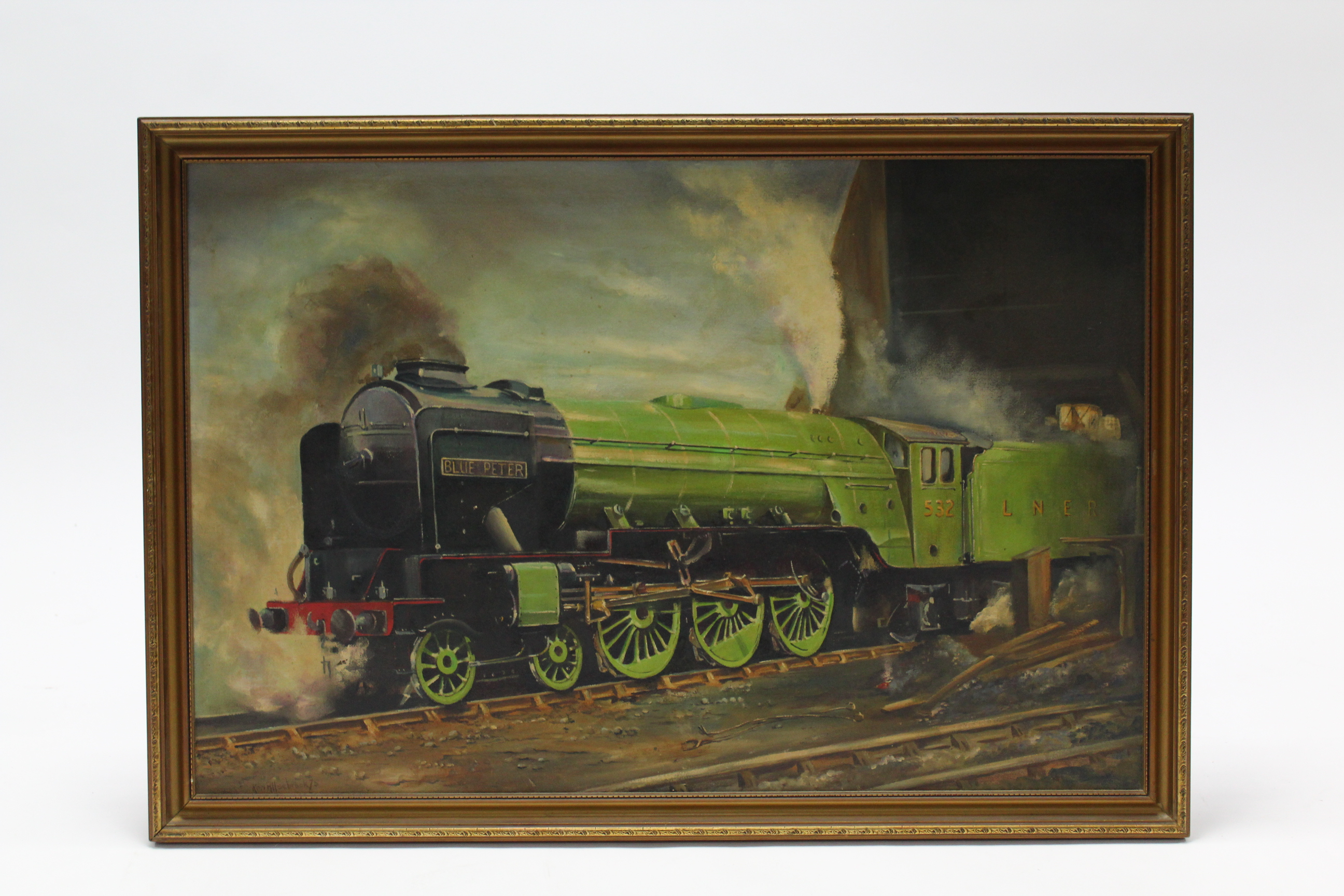 "Lot 86 - A large oil painting on canvas by Ken Allsebrook, of a railway locomotive titled to reverse: ""Blue"