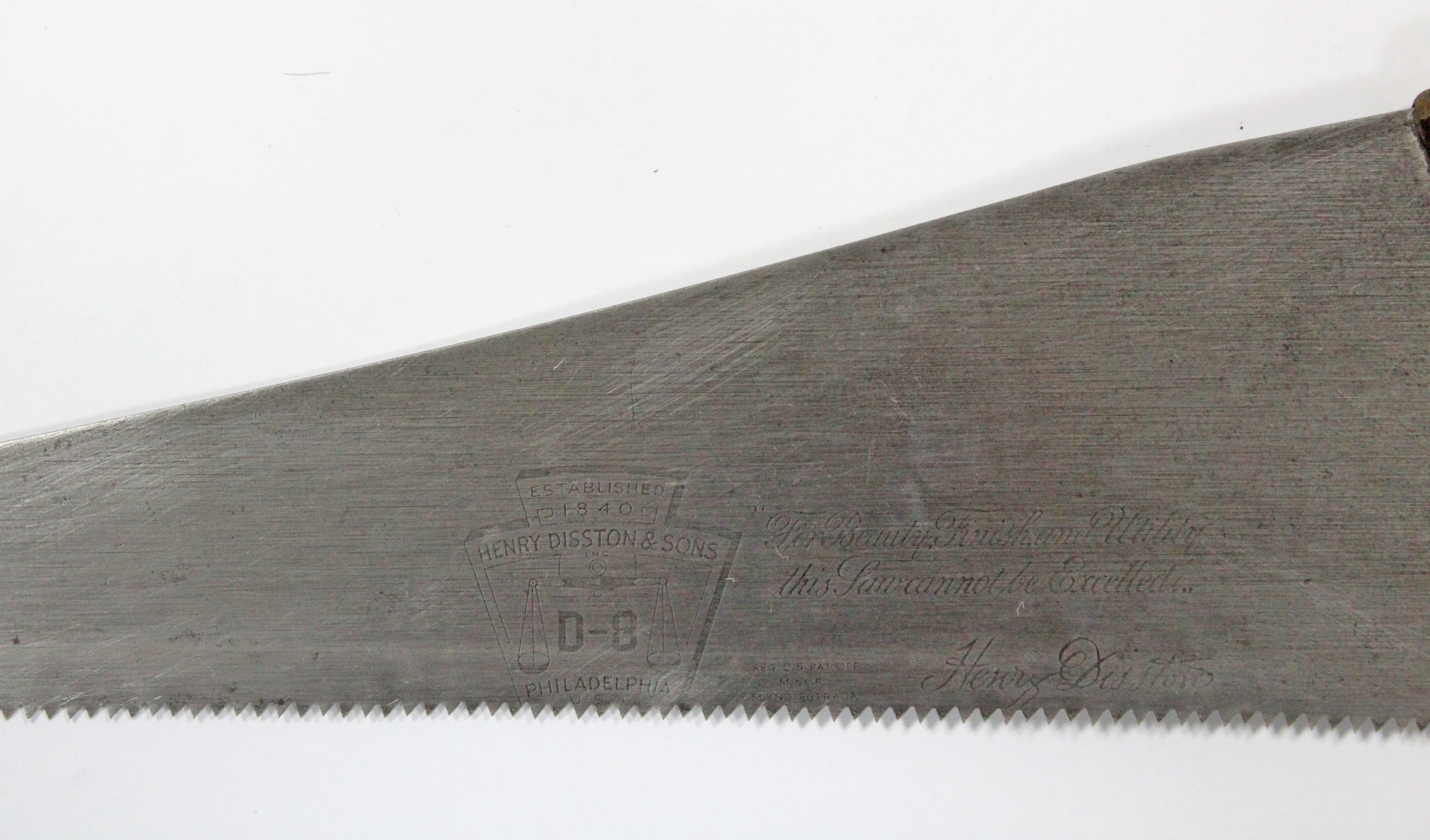 "Lot 16 - A Henry Diston & Sons of Philadelphia ""D-8"" carpenter's saw."