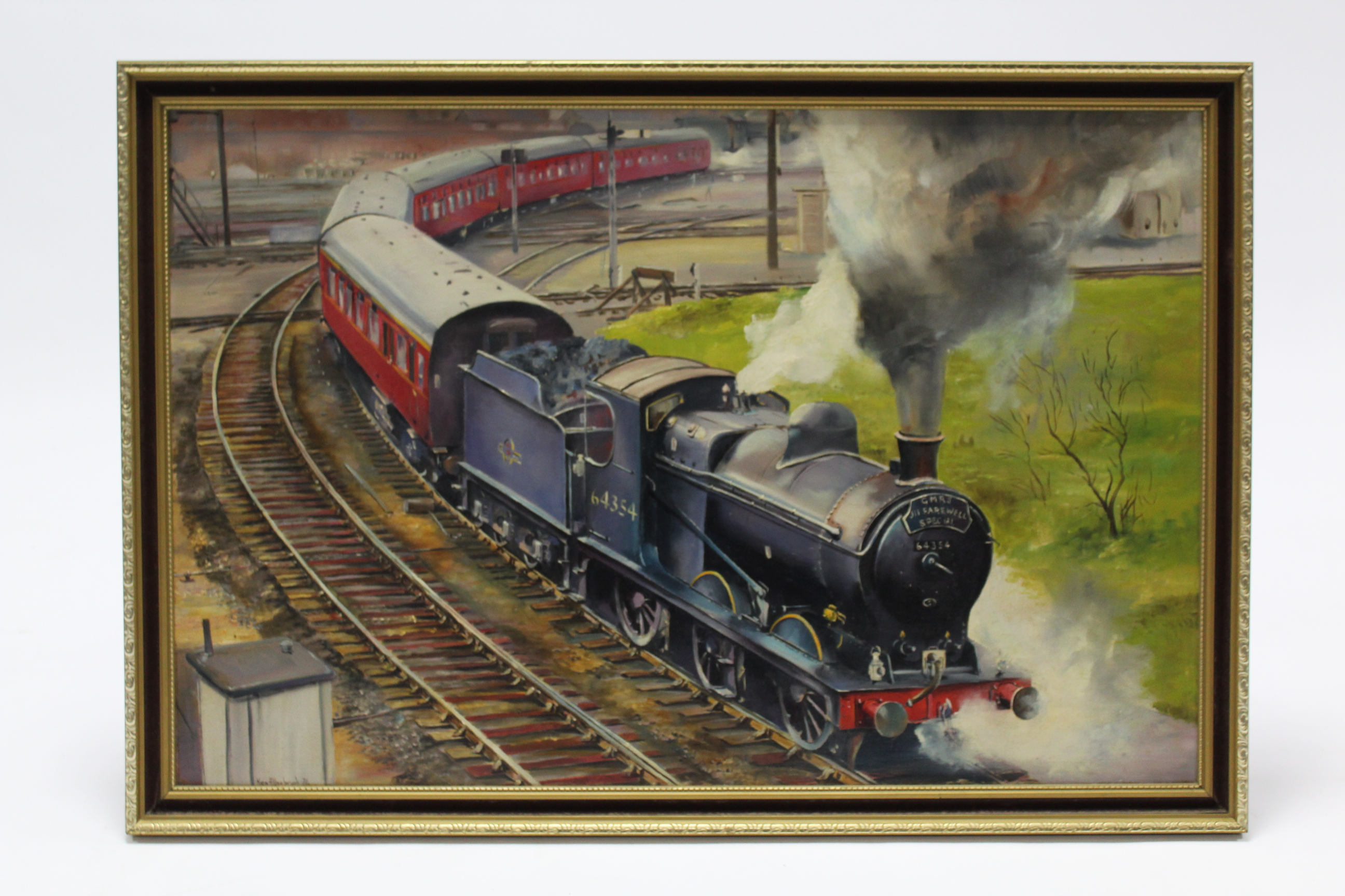 Lot 87 - Another large oil painting on canvas by Ken Allsebrook, of a railway locomotive titled to