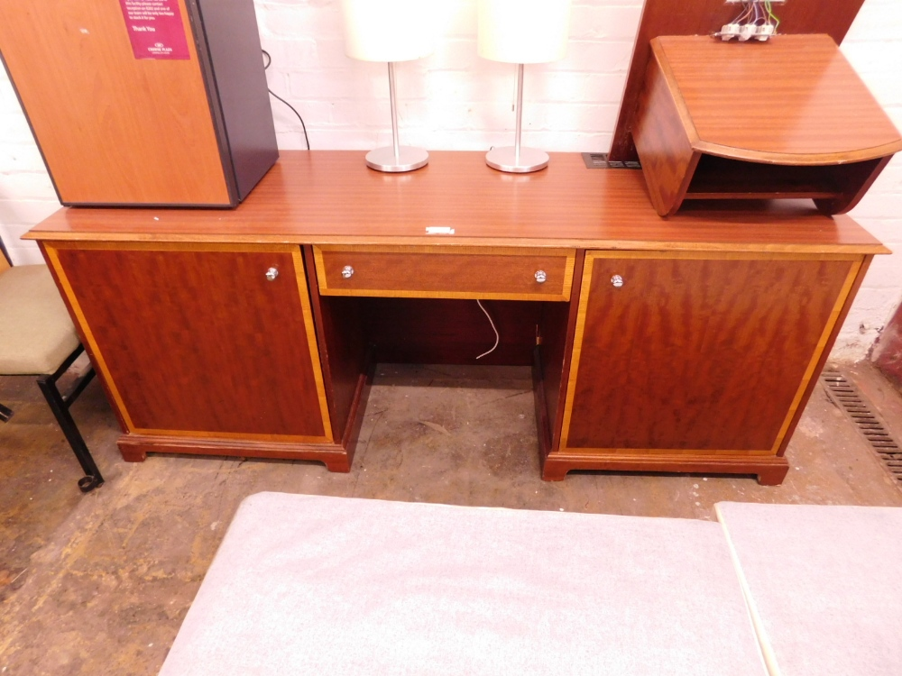 1 DARK WOOD 2 DOOR 1 DRAWER DESK DRESSING TABLE