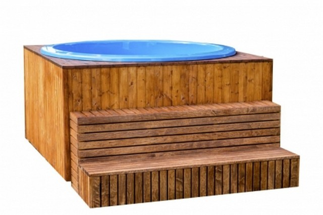 Lot 18044 - V Brand New 1.8m sq Fiberglass Hot Tub - Stainless Steel Heater with Chimney - Outlet Valve for