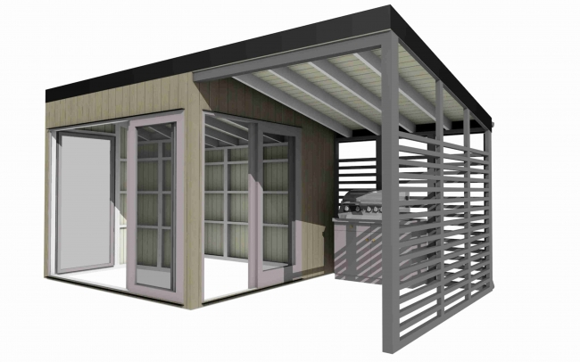 Lot 18014 - V Brand New Superb Spruce 5m x 3m Garden Living Cube With Covered Outdoor Terrace Section - Double