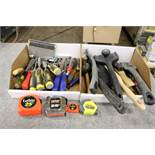 2 Boxes fo Various Tools, Chisels, Screw Drivers, Flatheads, Tape Measurers, Box Cutters,