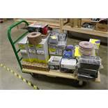 Huge Lot, Heavy Duty Rolling Cart Full of New Sand paper Wheels, Sanding Sponges, Ultra Flex Sanding