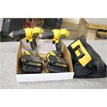 (2) DeWalt 20v Max Lithium Ion Drills with 2 Extra Batteries with Chargers and Bag