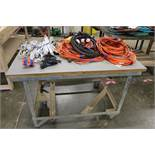 "Heavy Duty Rolling Cart with Large Lot of Surge Protectors and Extension Cords 51"" x 30"" x 29"""