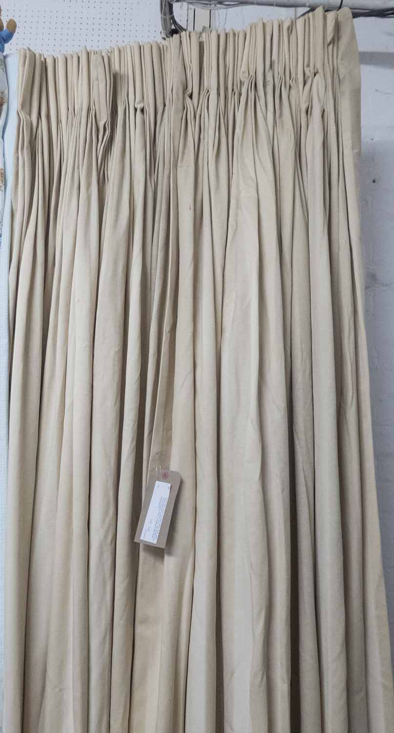 Lot 28 - CURTAINS, a pair, in striped fabric, lined, each 182cm gathered x 225cm drop,