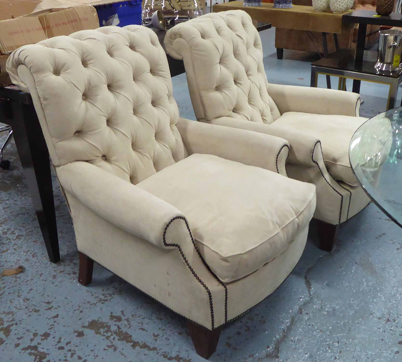 Lot 10 - ARMCHAIRS, a pair, in cream faux suede, button back with studded arms on square supports, 83cm W.