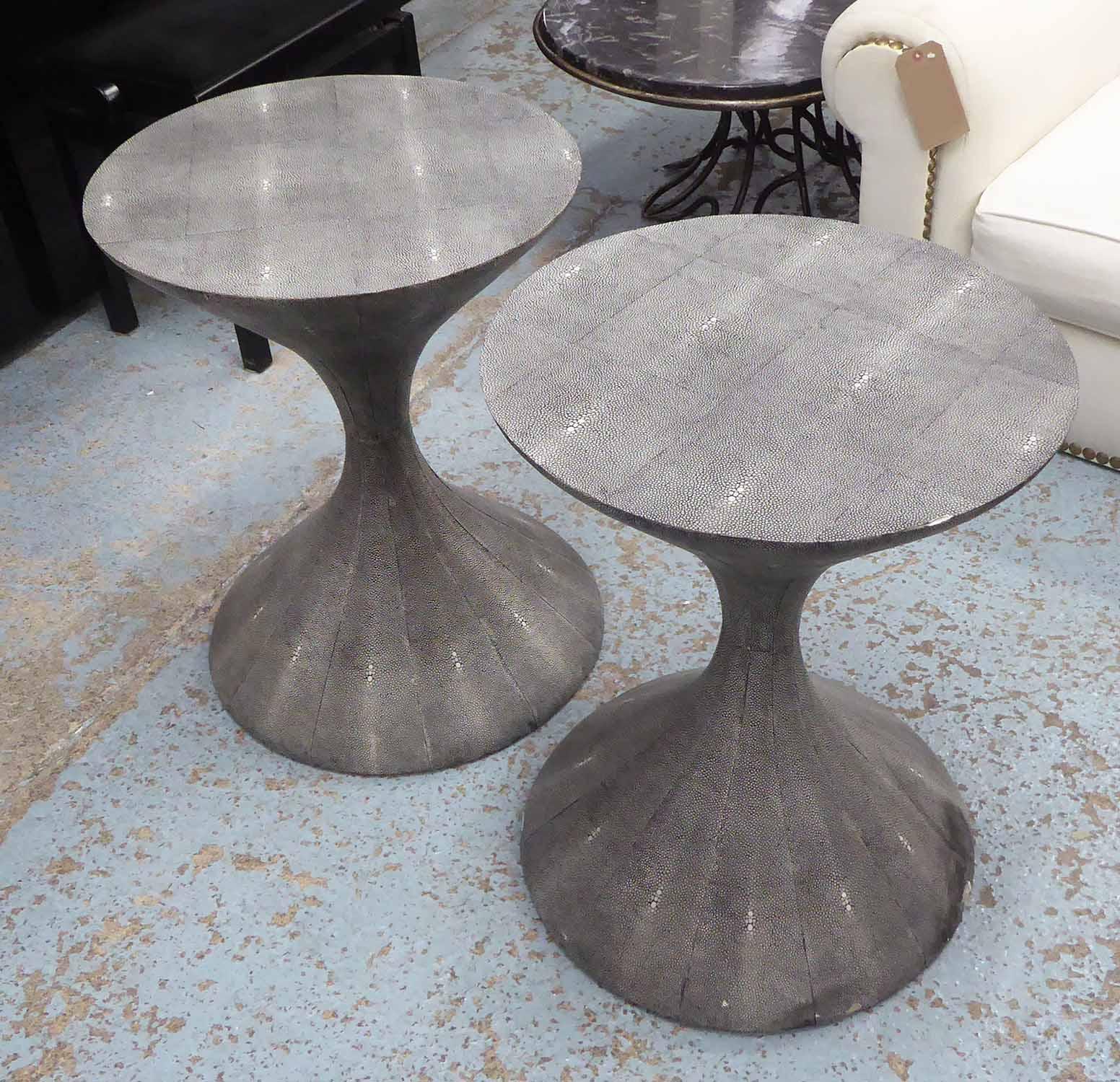 Lot 20 - JULIAN CHICHESTER SIDE TABLES, a pair, bobbin shaped, shagreen style, each 51cm x 65cm H.