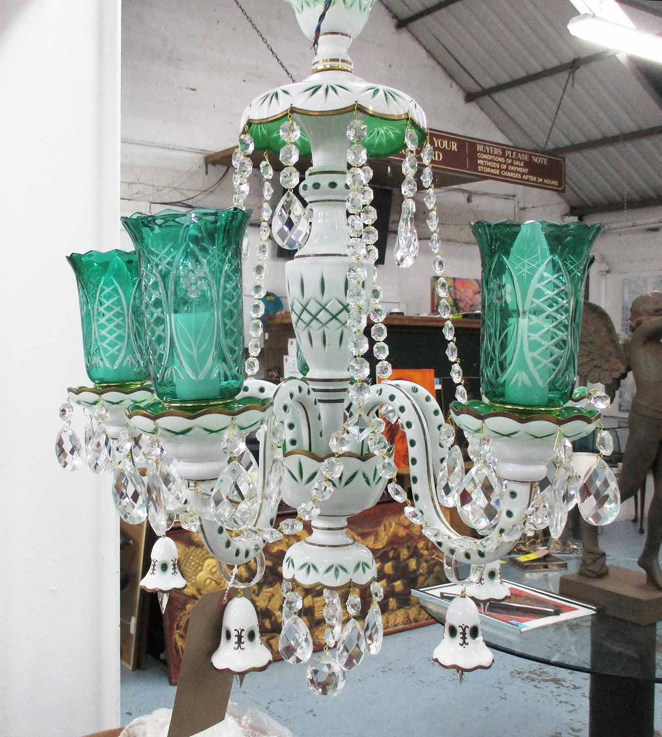 Lot 15 - CHANDELIER, 1950's style, five branch with swept arms with sea green etched shades, plus chain,