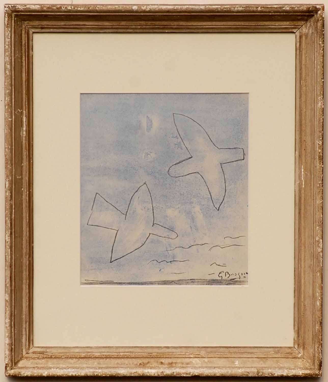 Lot 104 - GEORGES BRAQUE 'Two birds', 1958, pochoir, printed by Jacomet, 28cm x 24cm, framed and glazed.
