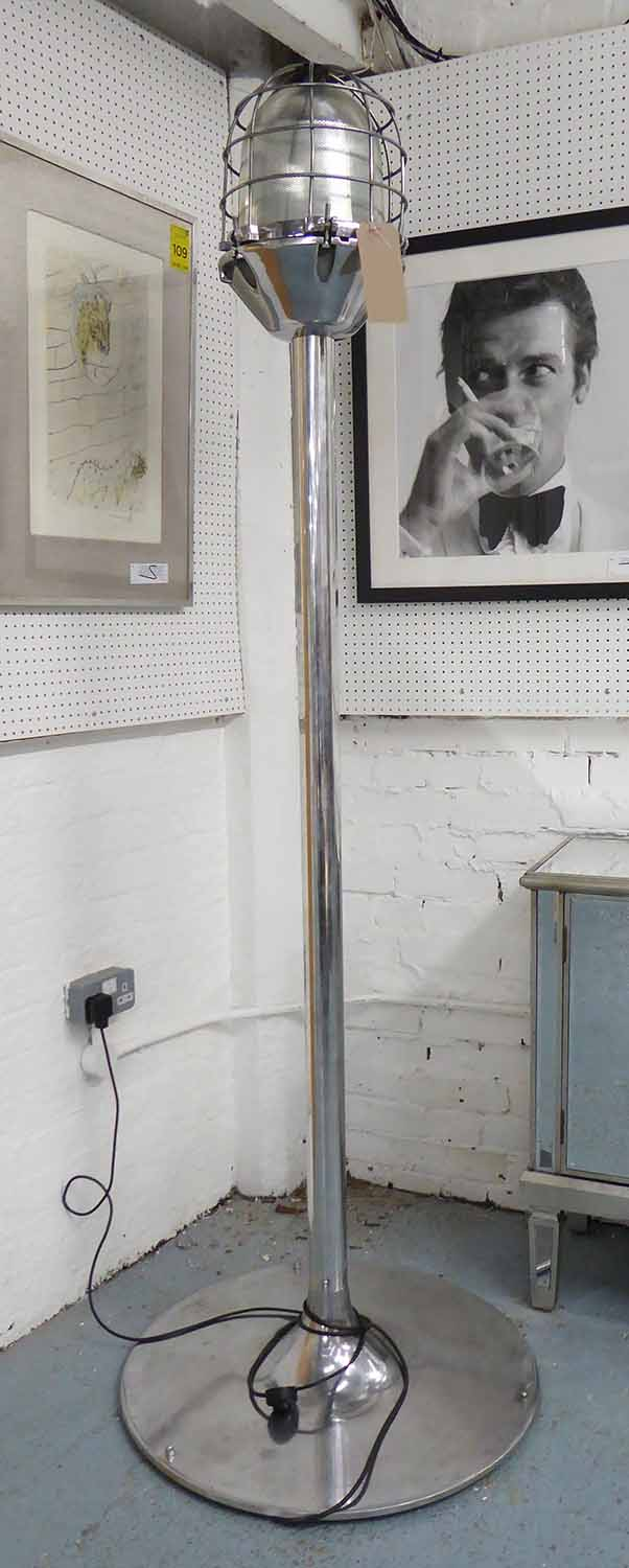 Lot 31 - FACTORY LAMP, vintage mid century French, on later floor stand, polished metal finish, 200cm H.