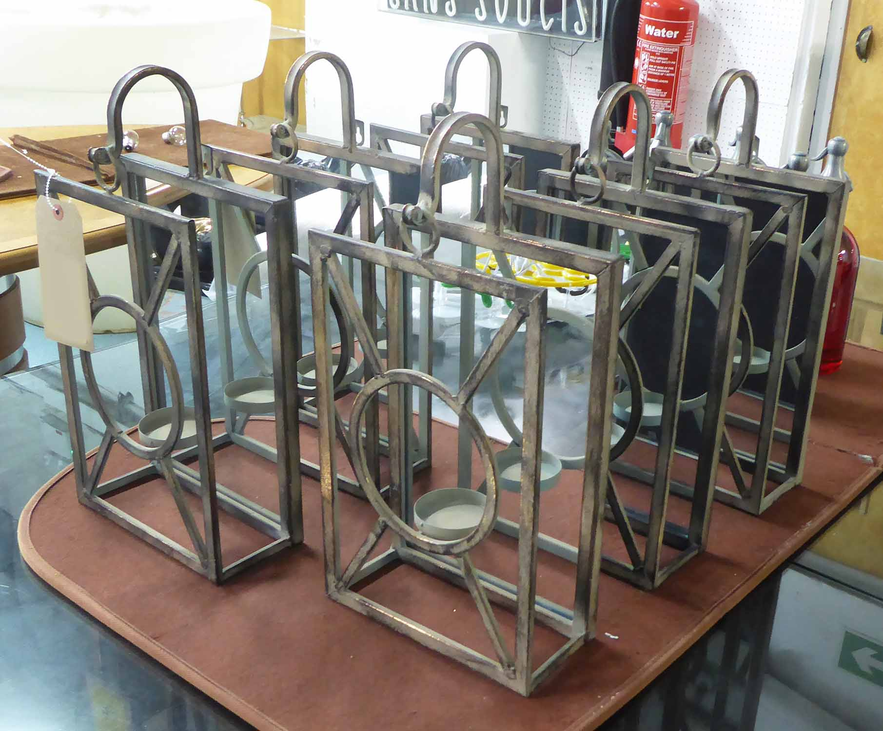 Lot 83 - ORANGERY WALL LIGHTS, a set of six, in a French Art Deco style, 43cm H.