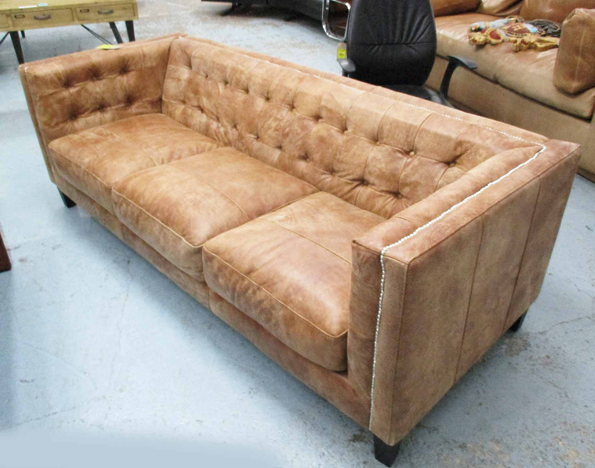 Lot 1 - SOFA, contemporary design, tan, buttoned back, with studded detail, 210cm W.