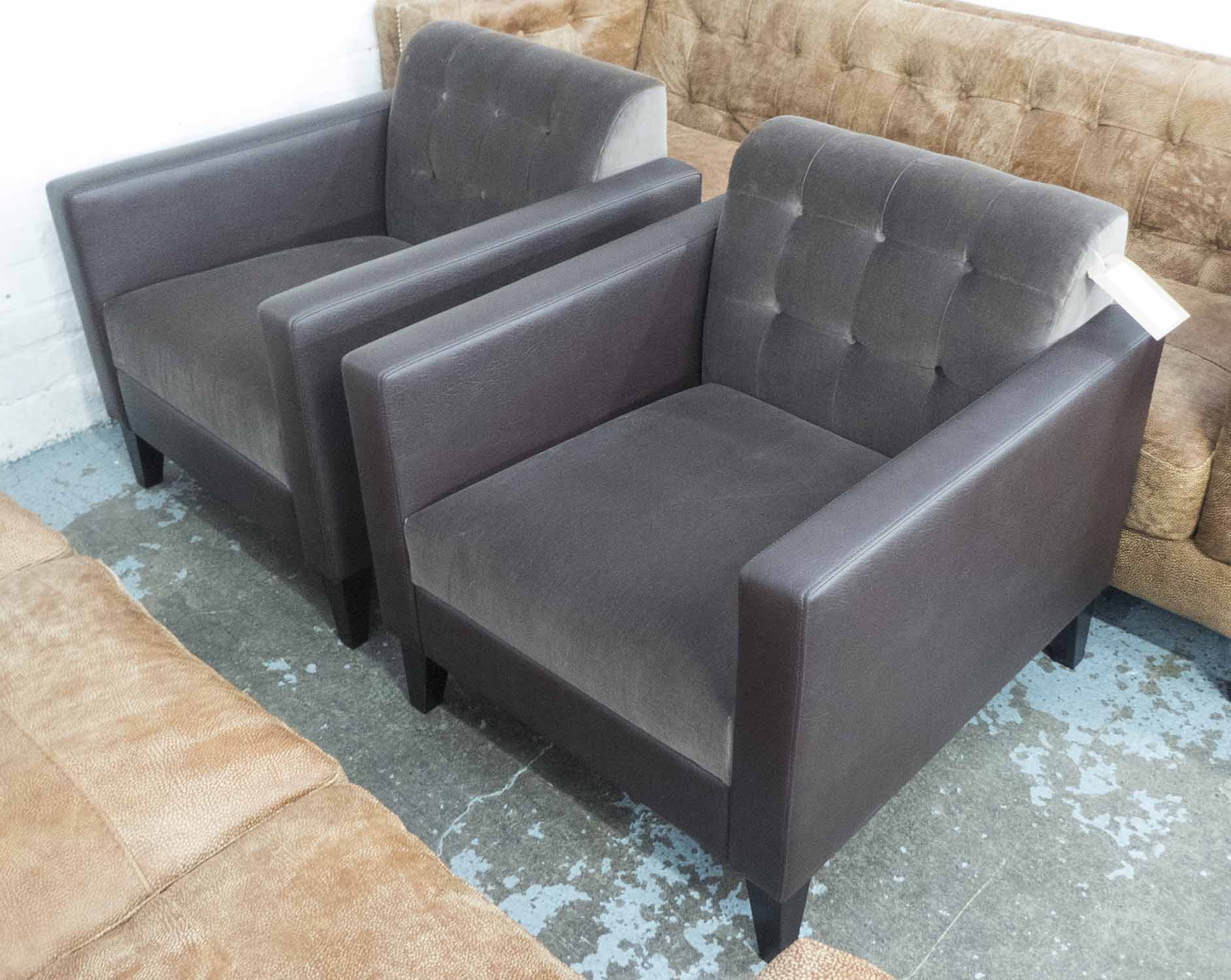 Lot 25 - ARMCHAIRS, a pair, in dark brown button back fabric, on square supports, 76cm W.