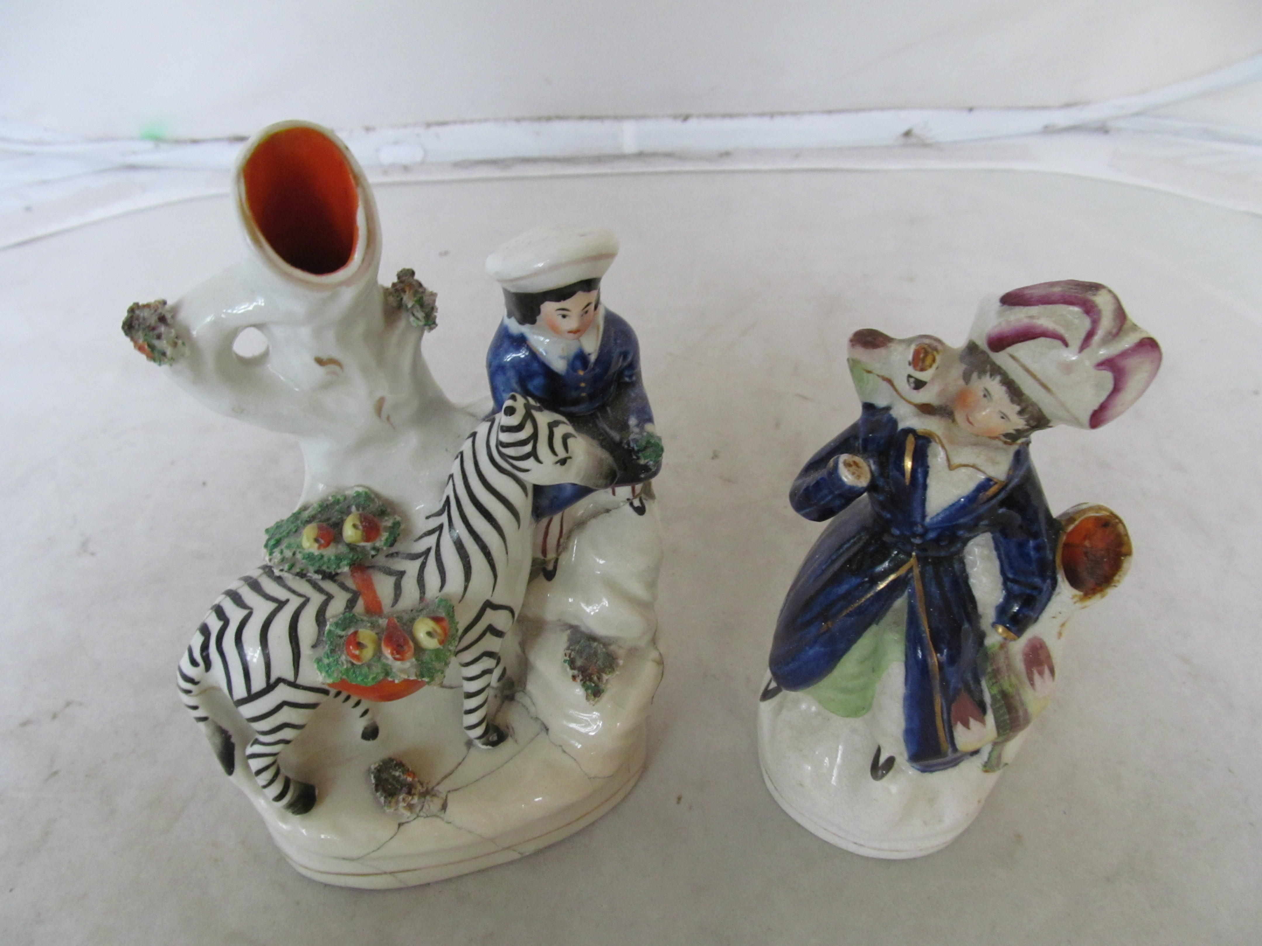 Lot 40 - Four items Staffordshire (all damaged)