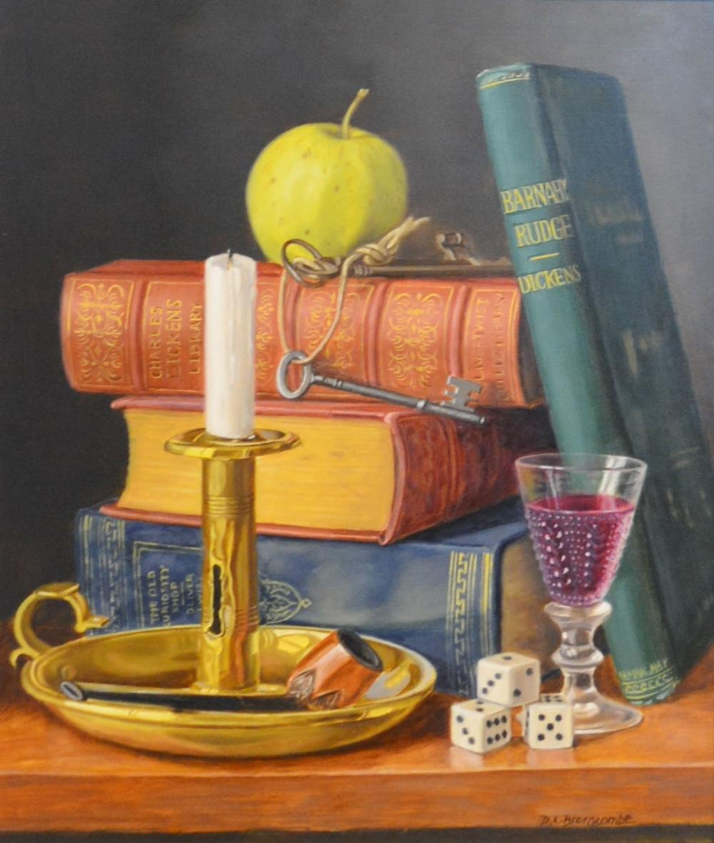 Lot 79 - Diane Branscombe, Dickens Still Life of Books, Barnaby Rudge and Chamber Stick on a Table, oil on
