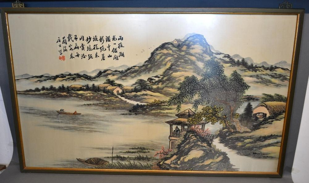 Lot 273 - A Chinese Large Painting on Silk 'Coastal Scene with Figures' with script, 70 x 117 cm, together