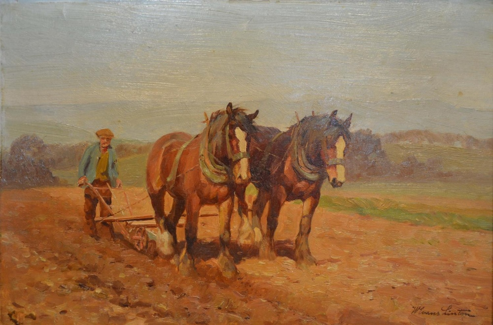 Lot 64 - William Evans Linton, 1878-1956, England, The Plough Team, oil on board, signed, 25 x 37cm