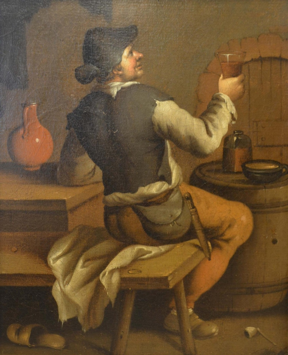 Lot 71 - Antoine Dury, 1819-1896, France, Figure in a Tavern Interior, oil on canvas, signed verso, 39 x 31cm