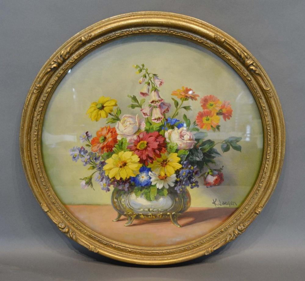 Lot 54 - K Jansen, Still Life Vase of Flowers, circular oil on board, 42cm diameter