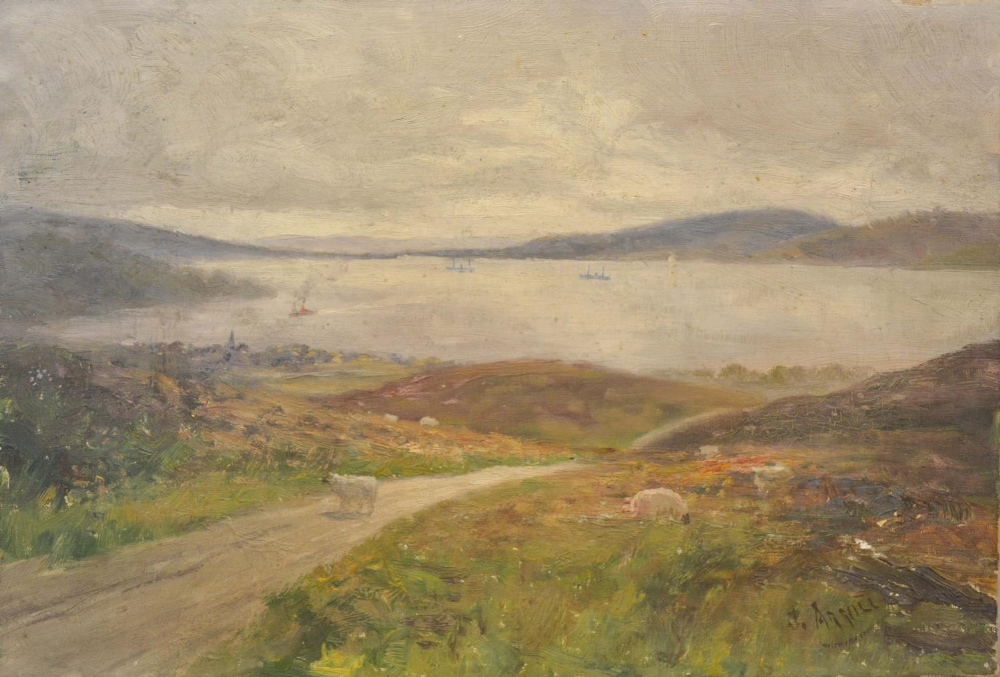 Lot 58 - James Arroll, A Rural Coastal Inlet With Sheep on a Track, oil on canvas, signed, 25 x 35cm