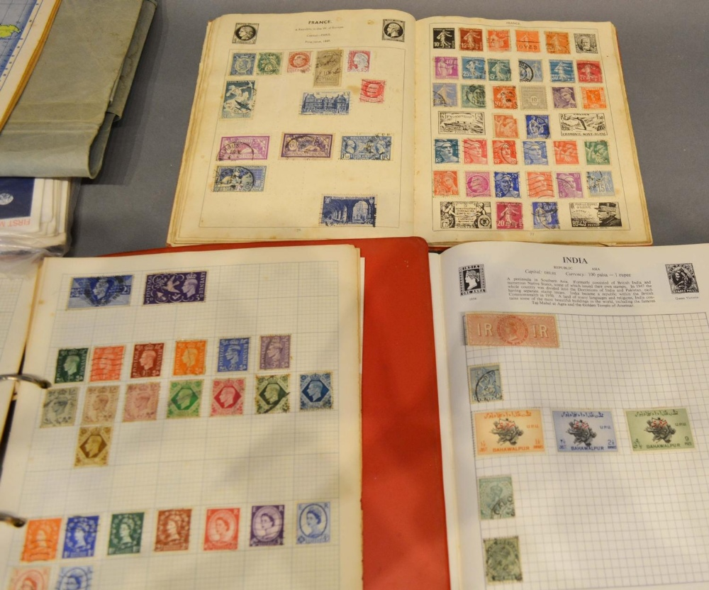 Lot 214 - A Stamp Collection within three albums, together with various first day covers