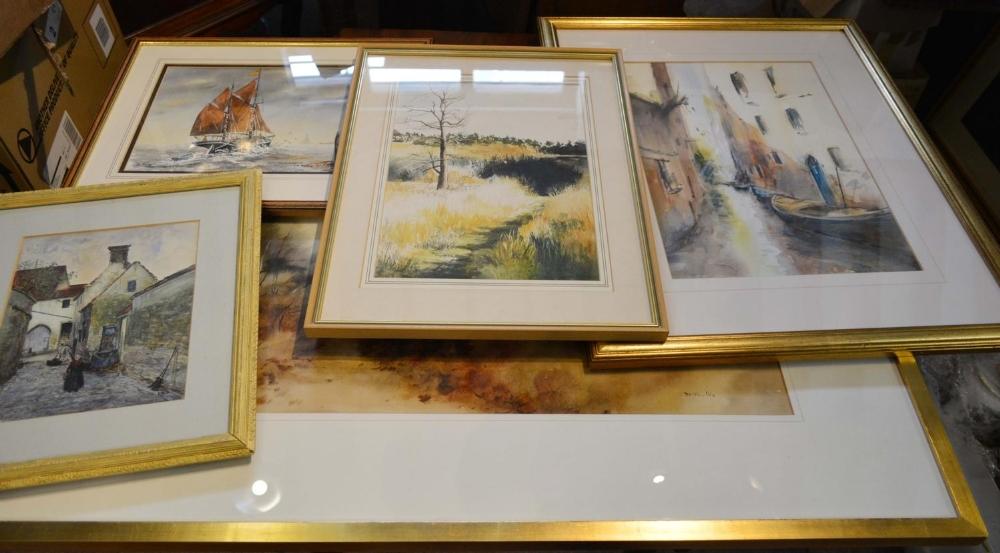 Lot 66 - Delvecchio, Rural Landscape, a large watercolour, together with four other watercolours
